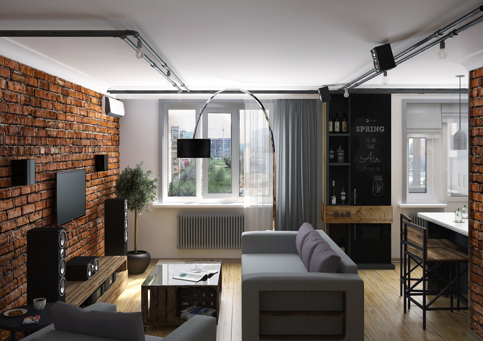 Дизайн лофт в маленькой квартире